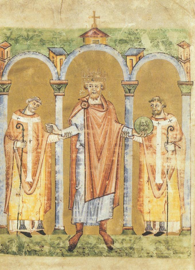 Keizer Hendrik II betreedt de kerk, vergezeld van twee bisschoppen.  Staatsbibliothek Bamberg, Msc. Lit. 53, fol. 2v