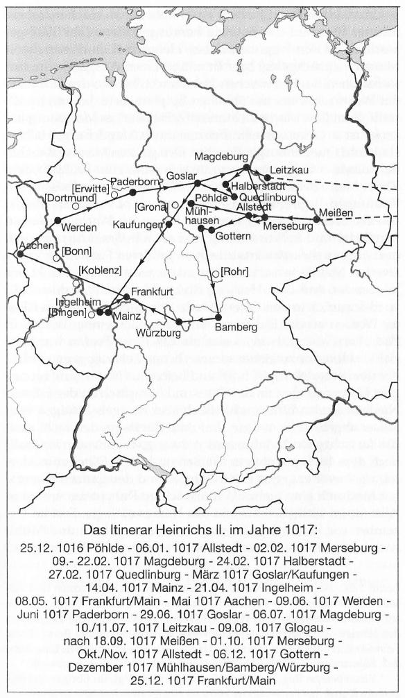 Het itinerario (reistraject) van keizer Heinrich II in 1017. Uit: Ehlers, C. (red.), Mittelalterliche Königspfalzen (Göttingen 2002)