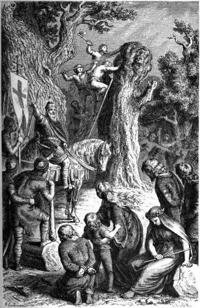 Karel de Grote verwoestte in 772 de mythische boom van de Saksen, de Irminsul. Het was het begin van een dertigjarige onderwerpingscampagne. Gravure door Heinrich Leutemann, 1882.
